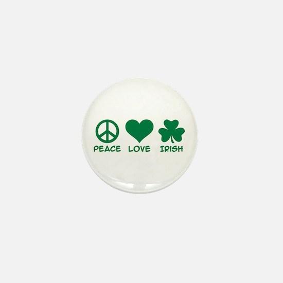 Peace love irish shamrock Mini Button