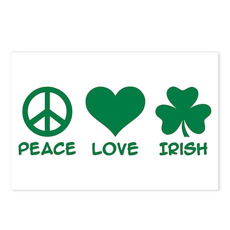 Peace love irish shamrock Postcards (Package of 8)