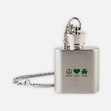 Peace love irish shamrock Flask Necklace