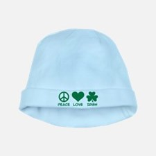 Peace love irish shamrock baby hat