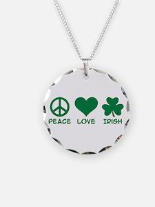 Peace love irish shamrock Necklace