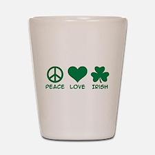 Peace love irish shamrock Shot Glass
