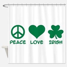 Peace love irish shamrock Shower Curtain
