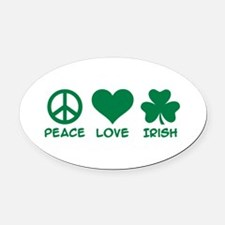 Peace love irish shamrock Oval Car Magnet