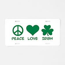 Peace love irish shamrock Aluminum License Plate