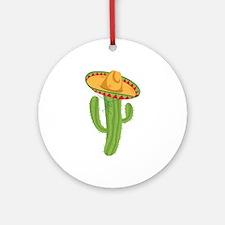 Sombrero Cactus Ornament (Round)