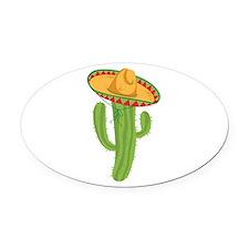 Sombrero Cactus Oval Car Magnet