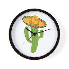 Sombrero Cactus Wall Clock