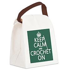 Keep Calm and Crochet On Canvas Lunch Bag