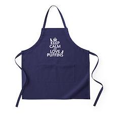 Keep Calm and Love Puffins Apron (dark)