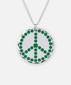 Irish shamrock peace Necklace Circle Charm