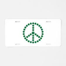 Irish shamrock peace Aluminum License Plate