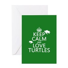 Keep Calm and Love Turtles Greeting Cards