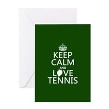 Keep Calm and Love Tennis Greeting Cards