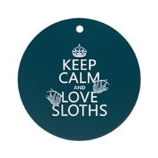 Keep Calm and Love Sloths Ornament (Round)
