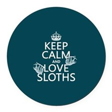 Keep Calm and Love Sloths Round Car Magnet