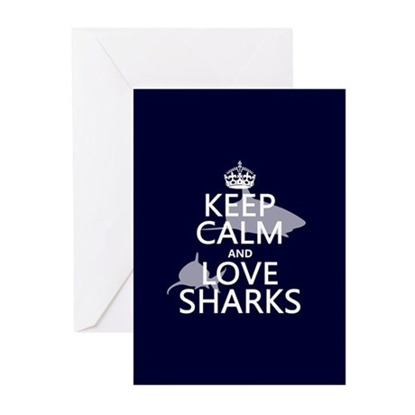 Keep Calm and Love Sharks Greeting Cards