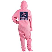 Keep Calm and Love Rhinos Footed Pajamas
