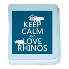 Keep Calm and Love Rhinos baby blanket