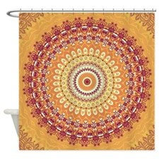 Orange Elegance Mandala Shower Curtain
