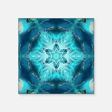 "teal peacock snowflake abst Square Sticker 3"" x 3"""