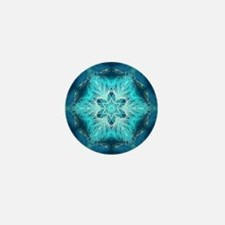teal peacock snowflake abstract art Mini Button