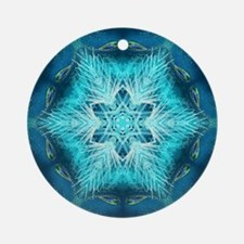 teal peacock snowflake abstract art Round Ornament