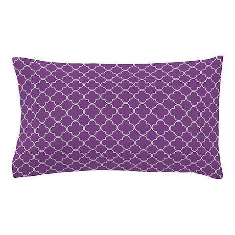 Purple Quatrefoil Pattern Pillow Case