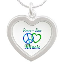 Peace Love Illinois Silver Heart Necklace