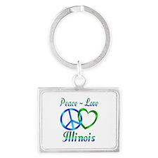 Peace Love Illinois Landscape Keychain