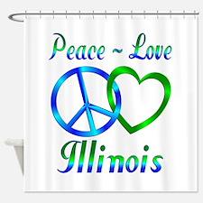 Peace Love Illinois Shower Curtain