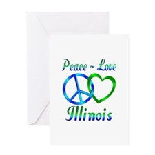 Peace Love Illinois Greeting Card