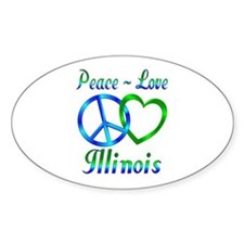 Peace Love Illinois Decal