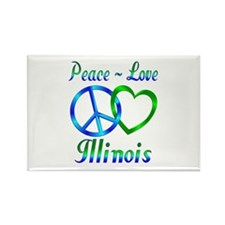 Peace Love Illinois Rectangle Magnet