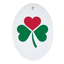 Shamrock red heart Ornament (Oval)