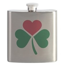 Shamrock red heart Flask