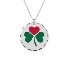 Shamrock red heart Necklace Circle Charm
