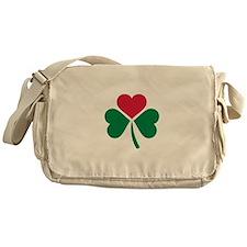 Shamrock red heart Messenger Bag