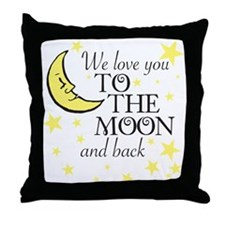 We love you to the moon and back Throw Pillow