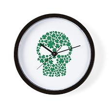 Shamrock skull Wall Clock