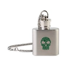 Shamrock skull Flask Necklace