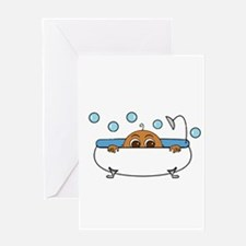 Baby Peeking Tub Greeting Cards