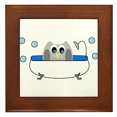 Owl in Tub Framed Tile