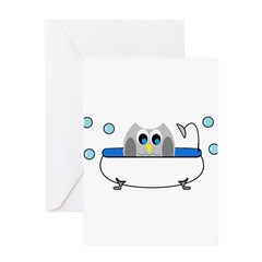 Owl in Tub Greeting Cards