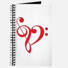 Love music, red heart with treble clef Journal
