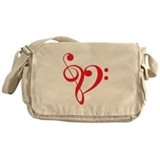 Love music, red heart with treble clef Messenger B