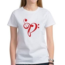 Love music, red heart with treble clef T-Shirt