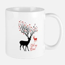 Oh my deer, stag and doe with red hearts Mugs