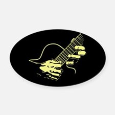 guitar-hands2-col-red-T Oval Car Magnet