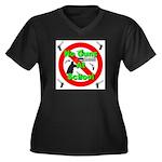 No Guns At School Women's Plus Size V-Neck Dark T-